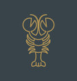 stylised lobster icon vector image vector image