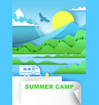 summer camp in paper art vector image vector image