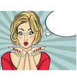 Surprised pop art woman Comic woman with speech vector image