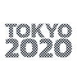 tokyo 2020 checkered pattern logo icon text vector image