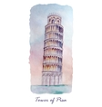 Travel card with tower of Pisa vector image