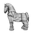 trojan horse sketch engraving vector image vector image