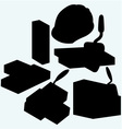 Trowel hard hat and bricks vector image vector image