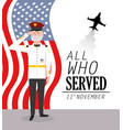 veterans day to military celebration with flag and vector image vector image