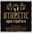 vintage label typeface named athletic vector image vector image
