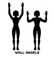 wall angels sport exersice silhouettes of woman vector image