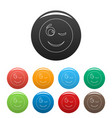 winks smile icons color set vector image