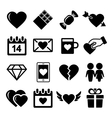 Valentine day love icons set vector image