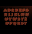 3d chocolate letters set brown heavy bold style vector image vector image