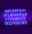 80 s blue neon retro font futuristic script vector image vector image