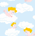 Angel and clouds seamless pattern Cute little Holy vector image