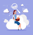 business woman sitting on cloud search data in vector image