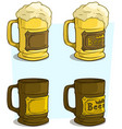 cartoon beer mugs with label icon set vector image