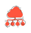 cartoon cloud computing technology icon in comic vector image vector image