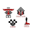 Chess club and tournament symbols vector image