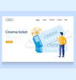 cinema ticket website landing page design vector image