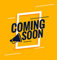 coming soon background with megaphone design vector image vector image