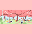 cute happy men and women viewing cherry blossom at vector image vector image