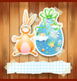 easter background with egg bunny and copy space vector image vector image