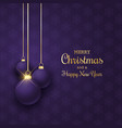 elegant christmas background with hanging purple vector image vector image