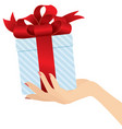 elegant woman hand giving a present close up vector image