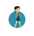 fashionably dressed girl carring her little pet vector image vector image
