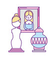 female sculpture painting and classic vase vector image