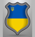 flag of ukraine with trident badge and icon vector image