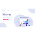 freelancer or employee during distance work sits vector image vector image