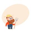 funny farmer gardener character in overalls vector image vector image