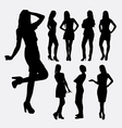 Girl casual pose silhouettes vector image vector image