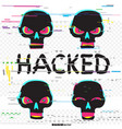 glitch hacker black skull set vector image vector image