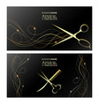 gold scissors and curls hair business card