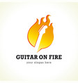 guitar on fire logo vector image