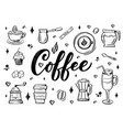 hand lettering name of coffee with sketches for vector image vector image