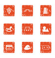 hereafter icons set grunge style vector image