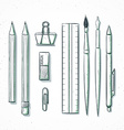 Isolated set stationery handmade in sketch style vector image vector image