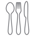 knife fork and spoon thin line icons vector image vector image