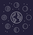 moon phases thin line icons vector image vector image