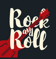 music banner calligraphic lettering rock and roll vector image