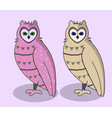 pink cartoon cute owls set vector image vector image