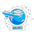 plane airliner with earth planet and ribbon with vector image vector image