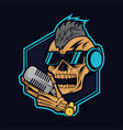 podcast skull design vector image vector image
