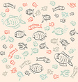 Retro Abstract Simple Outline Fish Pattern vector image vector image