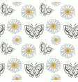 seamless pattern with doodle butterflyes and daisy vector image vector image