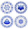 set of decorative porcelain plates ornate in vector image