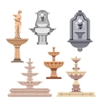 set of different fountains Design elements vector image