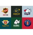 set of vintage color rugby championship logos vector image vector image