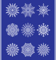 snowflakes collection on blue vector image vector image