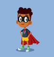 superhero african boy cartoon vector image